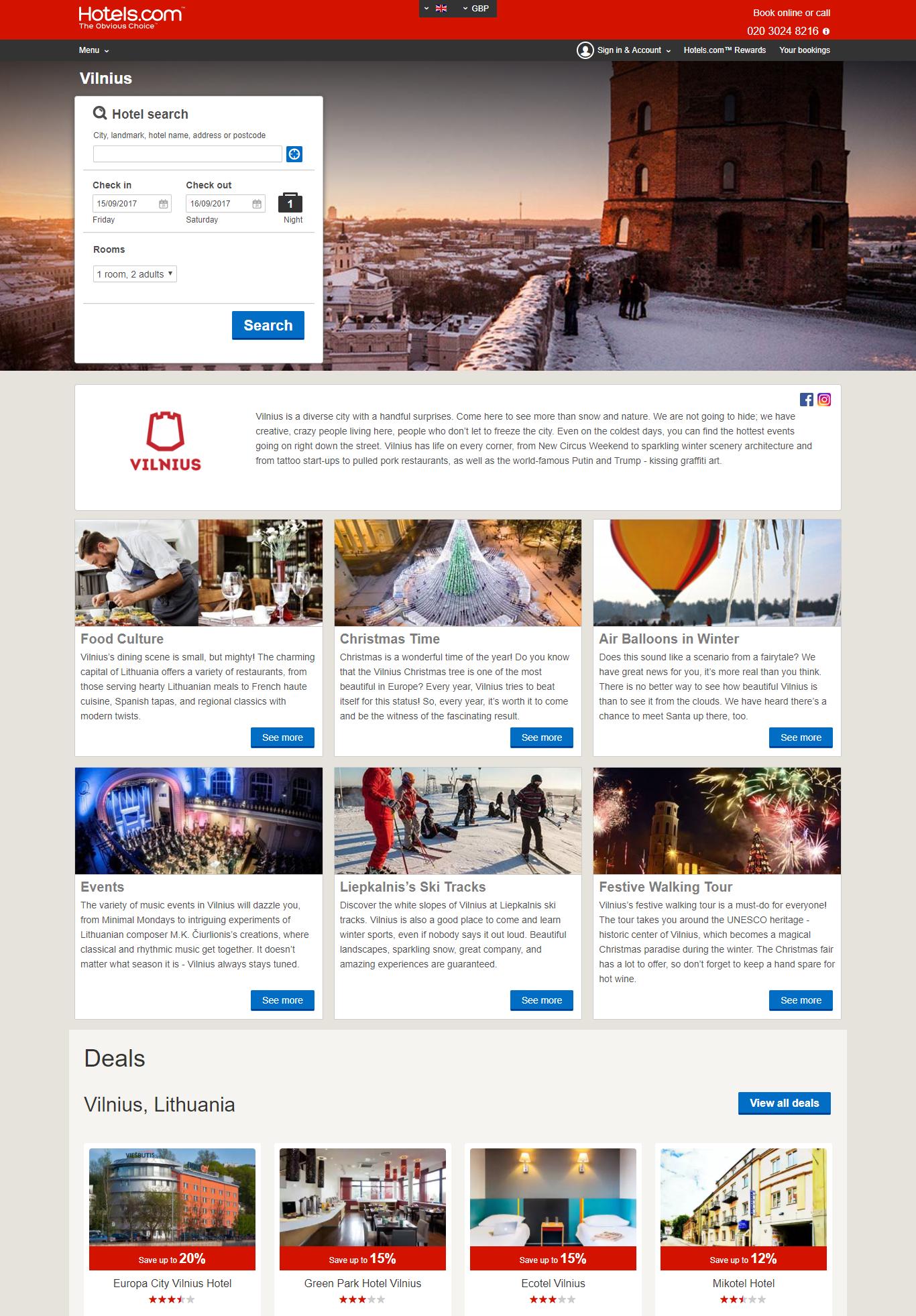 Vilnius pristatomas vienoje didžiausių kelionių organizavimo platformų